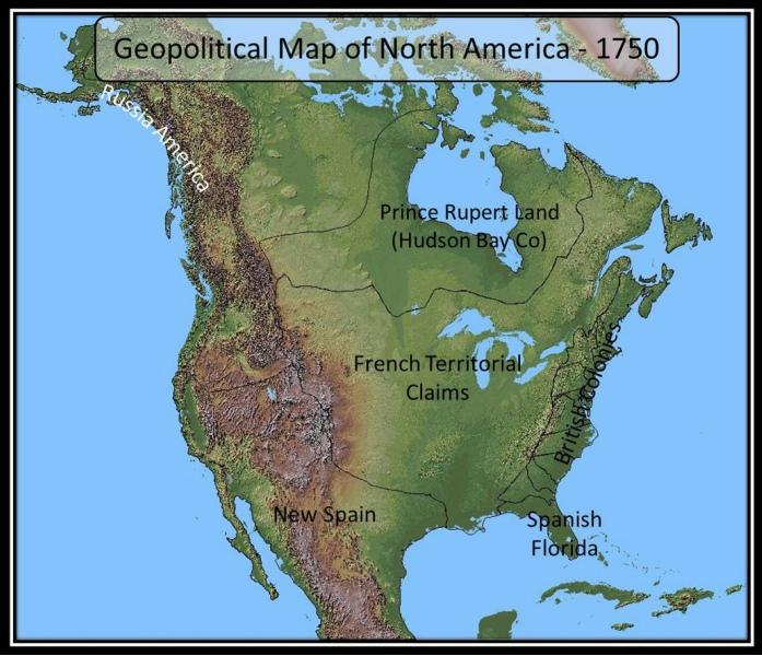 North America Map 1750.Geopolitical Map 1750